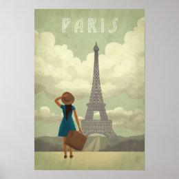 Paris Girl Vintage-Style Travel Poster