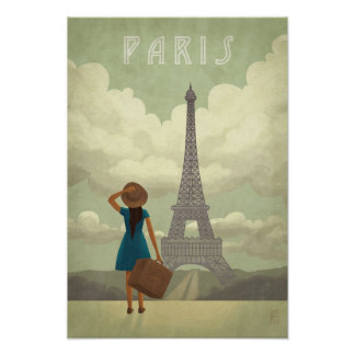 Paris Girl Vintage-Style Travel Poster