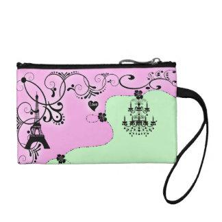 Paris girly chandelier monogram change purse