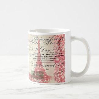 Paris girly pink lace shabby chic eiffel tower coffee mug