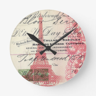Paris girly pink lace shabby chic eiffel tower round clock