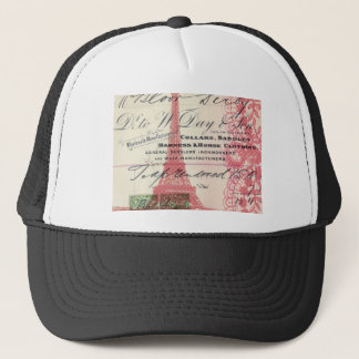 Paris girly pink lace shabby chic eiffel tower trucker hat