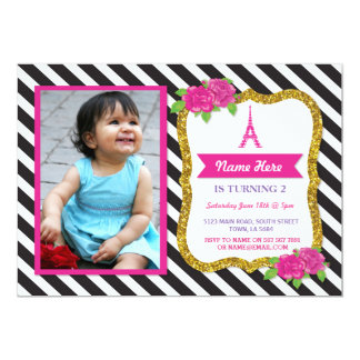 Paris Gold Glitter Floral Stripe Invitation