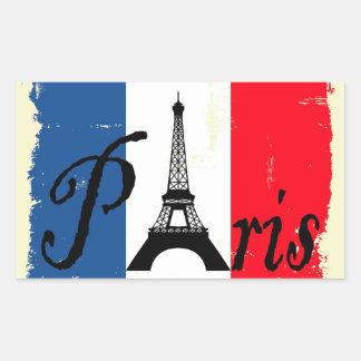 Paris grunge rectangular sticker