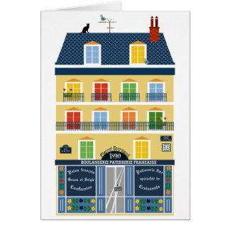 Paris Haussman building illustration Bakery shop Card