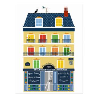 Paris Haussman building illustration Bakery shop Postcard