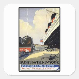 París Havre Nueva York Pegatina Cuadrada