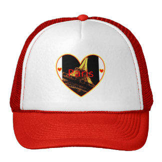 Paris Hearts Eiffel Tower Trucker Hat