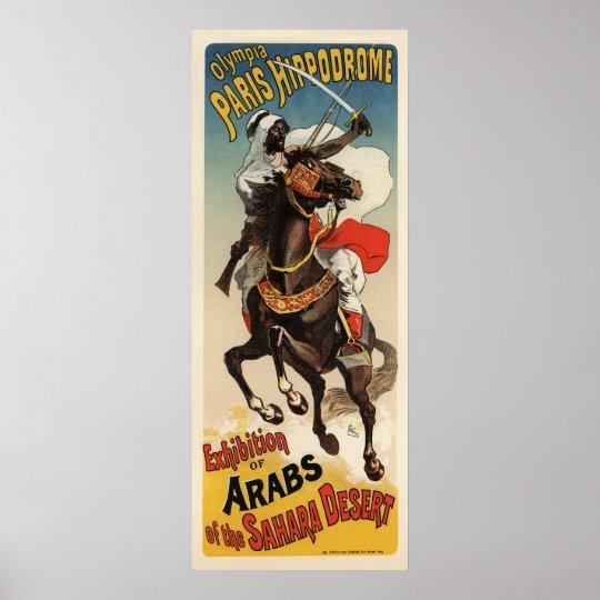 Paris Hippodrome Exhibition D'Arabes du Sahara Poster