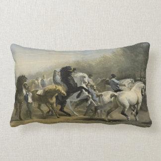 Paris Horse Market 1855 Lumbar Pillow