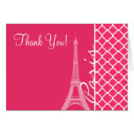 Paris; Hot Pink Moroccan Quatrefoil Stationery Note Card