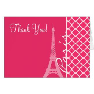 Paris; Hot Pink Moroccan Quatrefoil Card