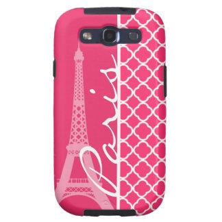 Paris; Hot Pink Moroccan Quatrefoil Samsung Galaxy S3 Cover