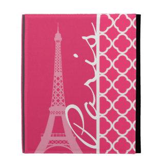 Paris; Hot Pink Moroccan Quatrefoil iPad Folio Case