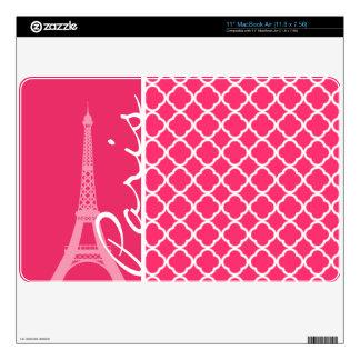 Paris; Hot Pink Moroccan Quatrefoil MacBook Decals