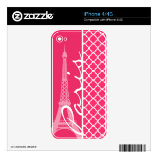 Paris; Hot Pink Moroccan Quatrefoil iPhone 4S Decals