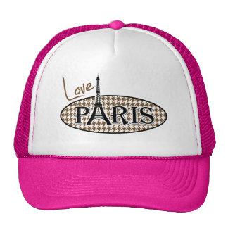 París; Houndstooth marrón Gorros Bordados