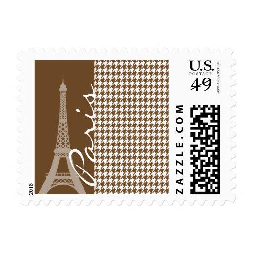 París; Houndstooth marrón Sellos Postales
