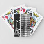París; Houndstooth negro y blanco Baraja Cartas De Poker