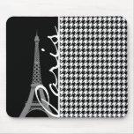París; Houndstooth negro y blanco Alfombrilla De Ratón