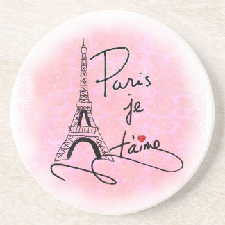 Paris I Love You Pink PXLY Drink Coaster
