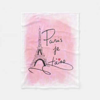 Paris I Love You Pink PXLY Fleece Blanket
