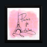 "Paris I Love You Pink PXLY Keepsake Box<br><div class=""desc"">This elegant trinket box design for her features an original hand drawn image of the Eiffel Tower and the text &#39;Paris je t&#39;aime&#39;. Background is a distressed-effect heart pattern in faded pink.</div>"