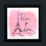 """Paris I Love You Pink PXLY Keepsake Box<br><div class=""""desc"""">This elegant trinket box design for her features an original hand drawn image of the Eiffel Tower and the text &#39;Paris je t&#39;aime&#39;. Background is a distressed-effect heart pattern in faded pink.</div>"""