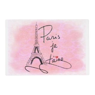 Paris I Love You Pink Pxly Placemat at Zazzle