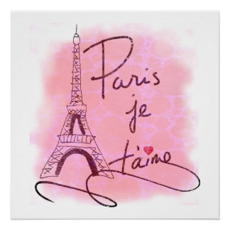 Paris I Love You Pink PXLY Poster