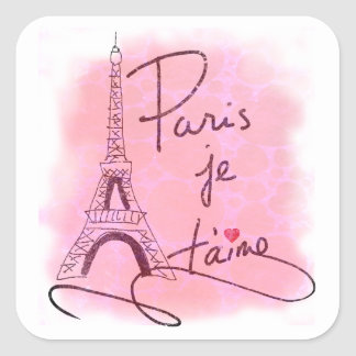 Paris I Love You Pink PXLY Square Sticker