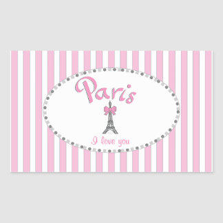 """Paris I Love You""- pink stripes Rectangular Sticker"