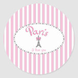 """Paris I Love You""- pink stripes Round Sticker"