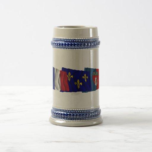 Paris, Île-de-France & France flags 18 Oz Beer Stein