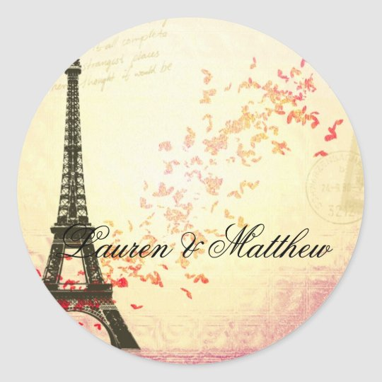 Paris in Love - Eiffel Tower Classic Round Sticker