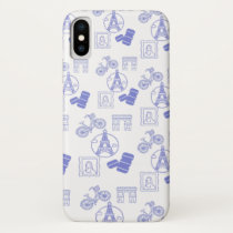 Paris in Monochrome French purple design iPhone X Case
