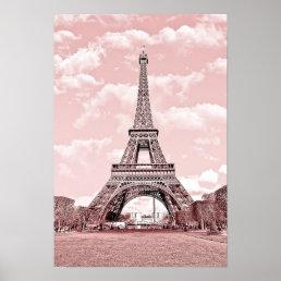 Paris in Pink, Eiffel Towea Poster