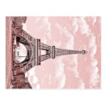 Paris in Pink Eiffel Tower France Postcard