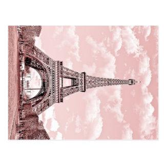 Paris in Pink Eiffel Tower France Postcard
