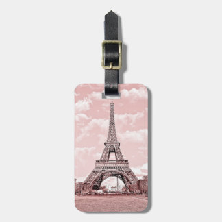Paris in Pink Eiffel Tower Luggage Tag