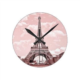 Paris in Pink Eiffel Tower Round Clock