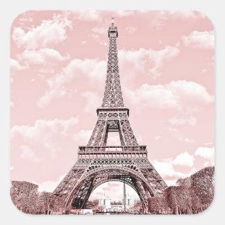 Paris in Pink Eiffel Tower Square Sticker