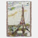 Paris In Spring Eiffel Tower France Blanket Throw