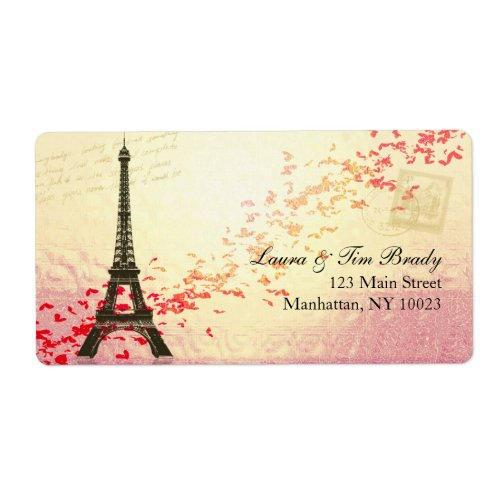 Paris in springtime with hearts custom shipping label