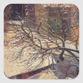 Paris in the snow by Paul Gauguin Square Sticker