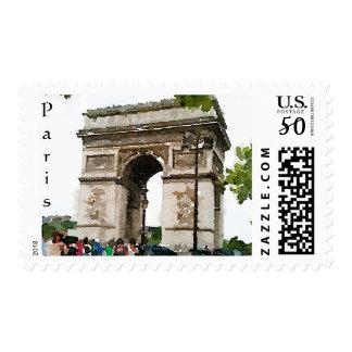 Paris inspired Arc de Triomphe postage stamps