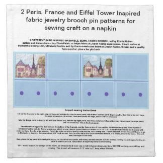 Paris Inspired Art Brooch Pin Patterns on Napkin