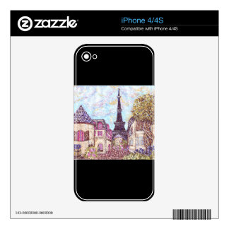 Paris Inspired Cityscape Pointillism Zazzle Skin Decals For iPhone 4