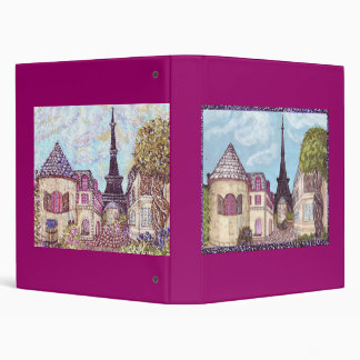 Paris Inspired Cityscape With Eiffel Tower Binder