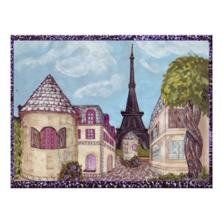 Paris Inspired cityscape with Eiffel Tower Poster